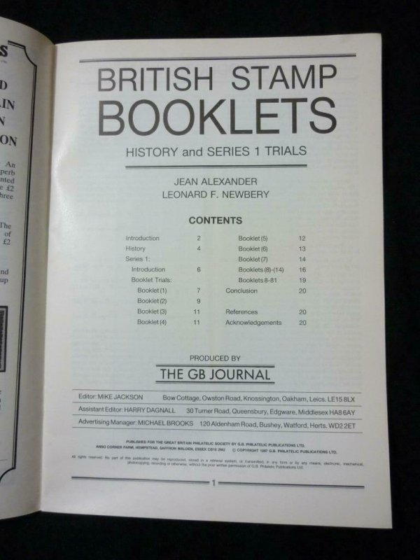 BRITISH STAMP BOOKLETS - HISTORY & SERIES 1 TRIALS by ALEXANDER & NEWBERY