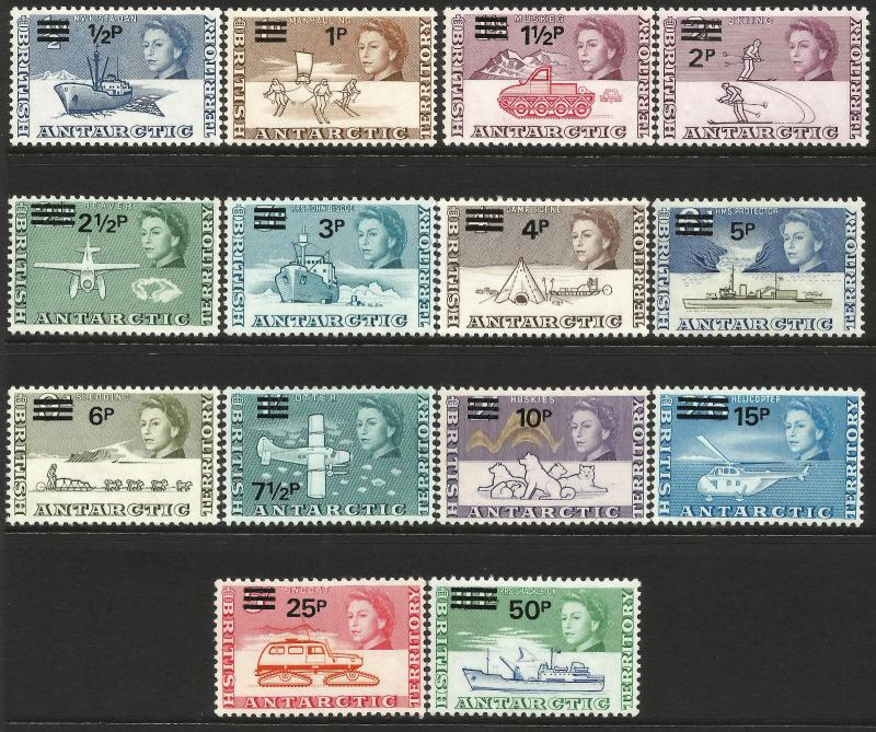 British Antarctic Territory QEII 1971 Surcharge set of 14 SG24/37 Unmounted Mint