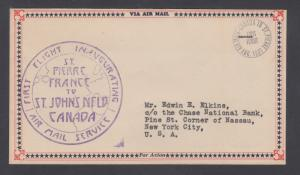 Newfoundland 1931 Maritime & Newfoundland Airways franking on FIRST FLIGHT cover