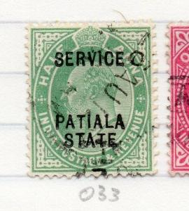 Indian States Patiala 1903-10 Early Issue Fine Used 1/2a. Optd 203588