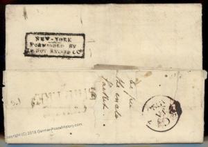 USA 1822 Baltimore NY Forwarding Agent Bayard England Transatlantic Cover 92199