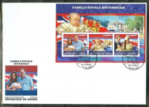 GUINEA 2013 BIRTH OF PRINCE GEORGE WITH KATE & WILLIAM  SHEET FDC