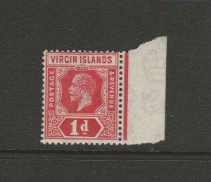 British Virgin Islands 1921 GV Script CA 1d UM/MNH Marginal SG 81