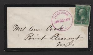$US Mourning cover Eaton Town NJ, Jan. 22, 1878, nice strike!