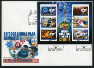 SAO TOME 2021 VACCINATE THE WORLD AGAINST THE PANDEMIC SHEET FIRST DAY COVER