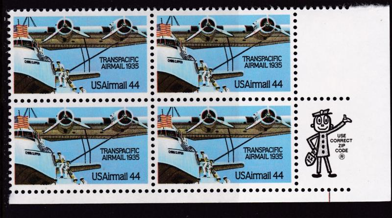 United States 1985  44cent Transpacific Airmail MR. ZIP Block. VF/NH