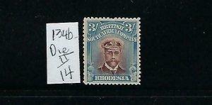 RHODESIA SCOTT #134B 1913-23 ADMIRAL 3SH (BLUE/CHOC) -DIE II PERF 14-MINT HINGED