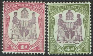 BRITISH CENTRAL AFRICA 1901 ARMS 1D AND 4D