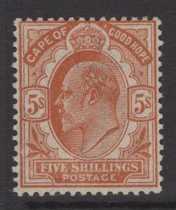 CAPE OF GOOD HOPE SG78 1903 5/- BROWN-ORANGE MTD MINT