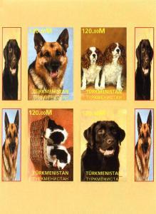 TURKMENISTAN SHEET IMPERF DOGS