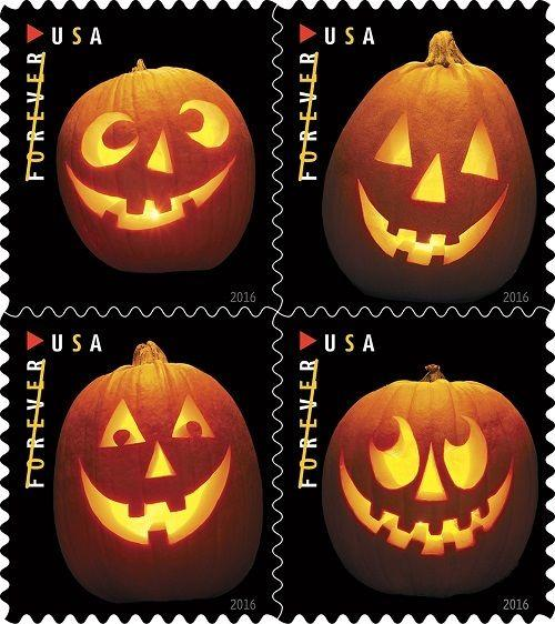 2016 47c Jack-o'-lanterns, Halloween Carved Pumpkins Scott 5137-40 Mint F/VF NH