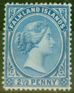 Falkland Islands 1898 2 1/2d Pale Ultramarine SG30b Fine Mtd Mint