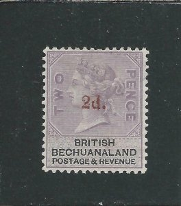 BECHUANALAND 1888 2d on 2d PALE DULL LILAC & BLACK MM SG 23a CAT £150