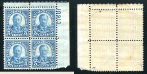 1927 SC# 637 5¢ Grant Plate Block Mint Never Hinged