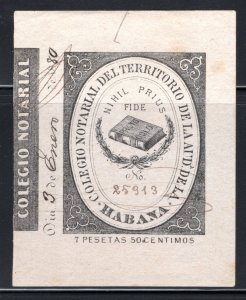 Cuba, College of Notaries, #8, Habana, 7.5P, Notary Fees Revenue Stamp, bla...
