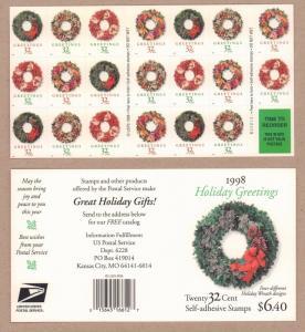{BJ Stamps}  3252e  32¢ Christmas Wreaths  Plate B222222   Mint pane of 20. 1998