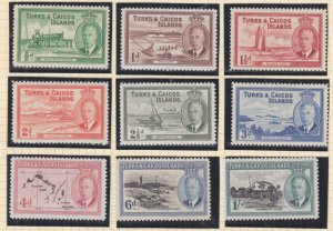 TURKS & CAICOS ISLANDS , 1950 KGVI set of 9 to 1s., lhm.