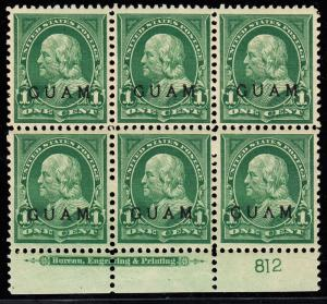 GUAM #1 PLATE #812 WITH IMPRINT BLOCK OF 6 VF TROPICAL GUM CV $350 BT5788