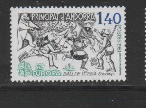 ANDORRA, FRENCH #286  1981   EUROPA  MINT VF NH  O.G