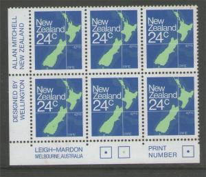 New Zealand 1957 MAp Plate block PL 111 CP PA35a