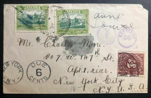 1925 Montego Bay Jamaica Cover To New York USA Postage Due