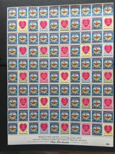 1954 Chicago Heart Association Seal Label, Cinderella Stamp Full Sheet of 100