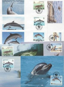 Guernsey 8 FDC/cards WWF 1990