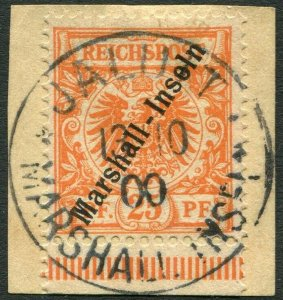 MARSHALL ISLANDS-1897-1900 25pf Orange on piece Sg G9 FINE USED V36437