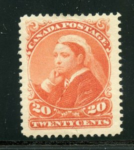 CANADA  QUEEN VISTORIA 20c ORANGE VF/XF  SCOTT# 46 MINT HINGED-SCOTT $475.00