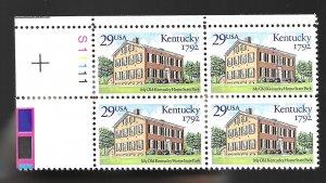 #2636 Kentucky Statehood 29 cent plate block  MNH