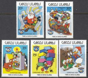 Caicos Islands #54-58 Disney Characters celebrating Christmas '84 ~ (6766)