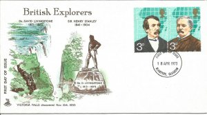 British Explorers Post Office FDC 1973 David Livingstone & Henry Stanley Z8935