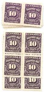Canada USC #J20&J20b 1935 10c Postage Dues 20 Dark Violet and 20 Red Violet Mint
