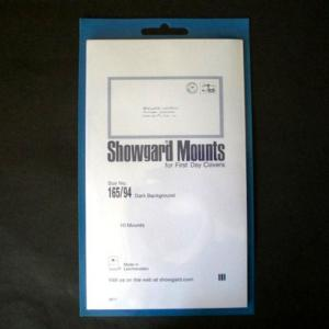 Showgard Stamp Mounts Size 165 / 94 BLACK Background Pack of 10