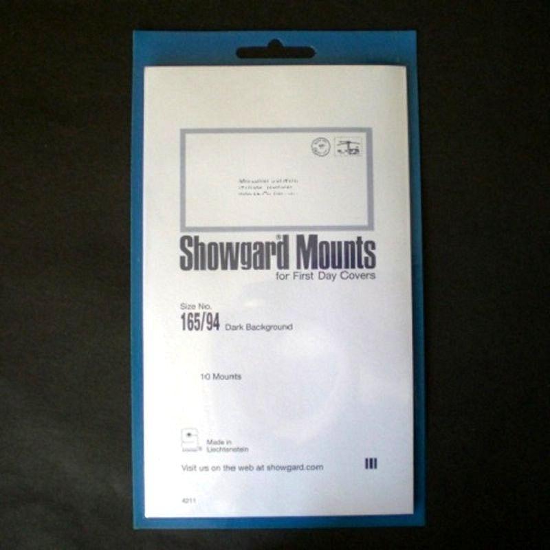 Showgard Stamp Mounts Size 165 / 94 BLACK Background Pack of 10