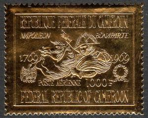 Cameroun C126, Embossed on Gold Foil, MNH. Napoleon Crossing Saint Bernard,1969