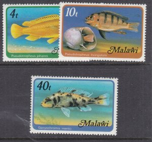 MALAWI ^^^^x3  MNH  FISHES TOPICALS var  with WMK  $$@lar812mala