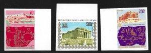 Benin C282-84 UNESCO Parthenon set IMPERF MNH (BB)