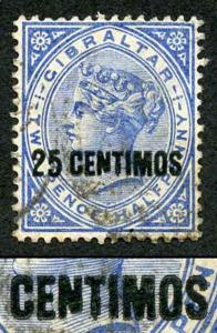 Gibraltar SG18b 1889 25 on 2 1/2d Bright Blue Variety BROKEN N