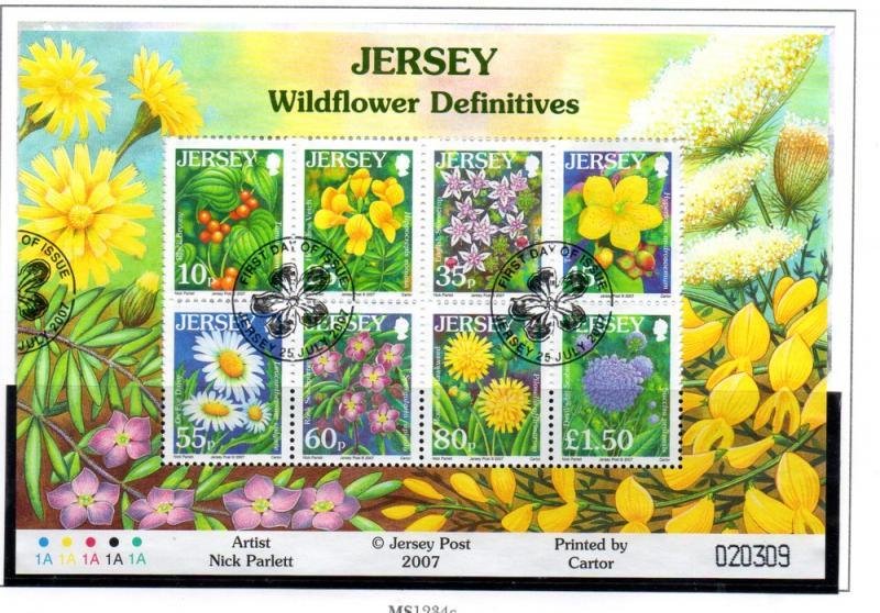 Jersey Sc 1274a 2007 Wildflowers stamp sheet used