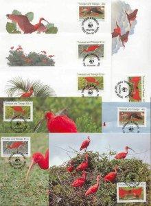 Trinidad Tobago 8 FDC/cards WWF/Ibis 1990