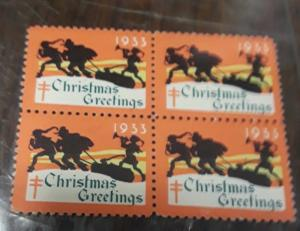 1933 Christmas Seal Block of 4 mnh