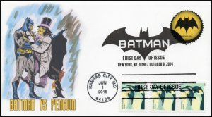 SC 4989, SC 4928, 2015, Batman vs Penguin, FDC, Duel Stamp 15-158
