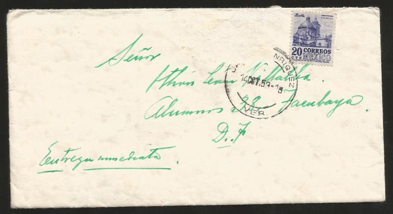 J) 1953 MEXICO, COLONIAL ARCHITECTURE OF PUEBLA, COMPLETE LETTER IN GREEN, AIRMA