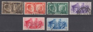 J29673, 1941 WWII italy set used #413-8 hitler & mussolini