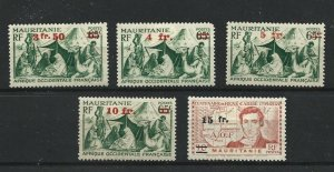 MAURITANIA  1944  S G 125 - 129  SURCHARGES  SET OF 5    MH
