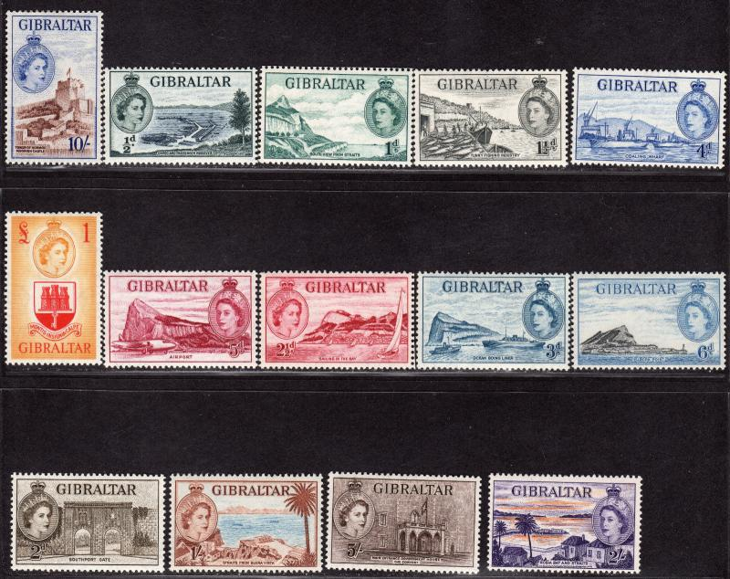 $Gibraltar Sc#132-145 M/H, complete set, some NH, Cv. $100