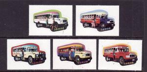 Samoa-Sc#1028-32-Unused NH set-Decorated Buses-Transportation-Self-adhesives-200