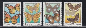 Tokelau # 213-216, Butterflies, # 214 has short perfs in corner, NH, 1/3 Cat.
