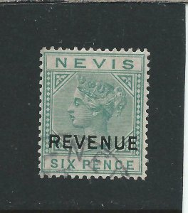 NEVIS 1882 FISCAL POSTALLY USED 1882 6d GREEN FU SG F8 CAT £65